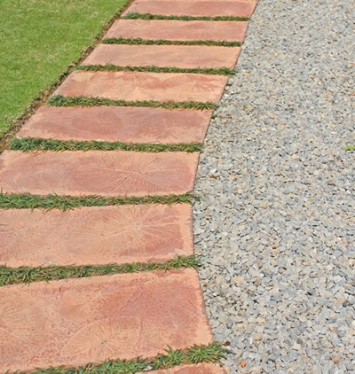 Patio with pavers and pea gravel